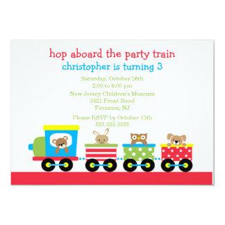 "Birthday Animal Train Birthday Invitation 5"" X 7"" Invitation Card"
