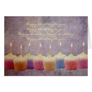 Birthday Anyone Cupcakes Lit Candles Greeting Card