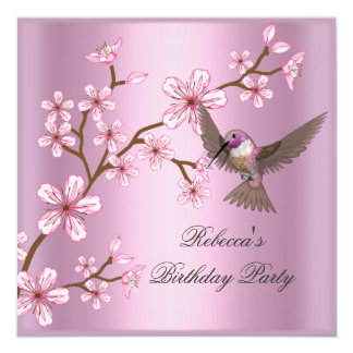 Birthday  Asian Pink Blossom Flowers Bird Card