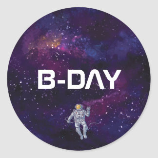 Birthday. Astronaut in Space with Stars & Galaxy. Classic Round Sticker
