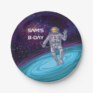 Birthday. Astronaut in Space with Stars & Galaxy. Paper Plate