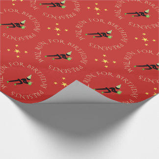 Birthday athlete custom text black red wrapping paper