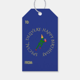 Birthday athlete custom text green blue gift tags