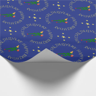 Birthday athlete custom text green blue wrapping paper
