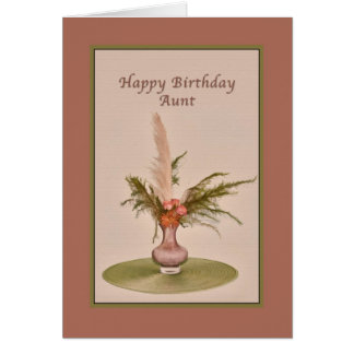 Birthday, Aunt, Vase of Roses and Ferns Card