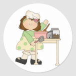 Birthday Baker Girl Round Sticker