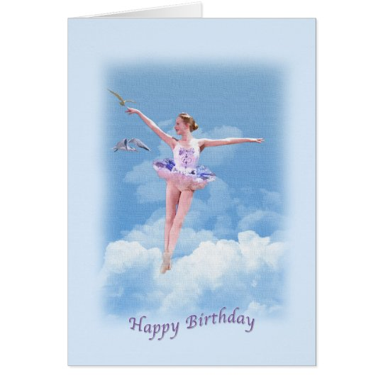 Birthday, Ballerina Dancing Above the Clouds Card