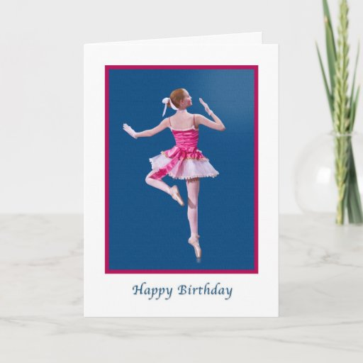 137637040772772026 Birthday Ballerina In Pink And White Card