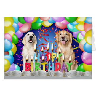 Birthday Balloon Drop - Golden Retrievers Card