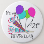 Birthday Balloons and Party Horns 6 Cm Round Badge