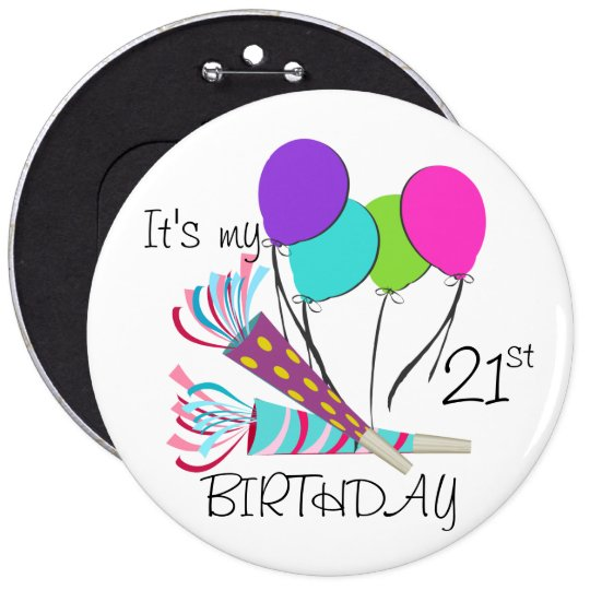 Birthday Balloons and Party Horns 6 Cm Round