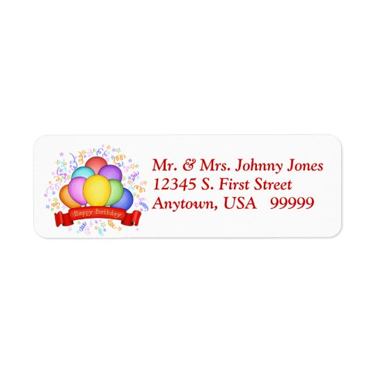 Birthday Balloons & Banner Return Address Labels