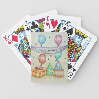 birthday balloons bicycle playing cards