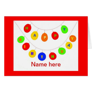 Birthday Balloons card add name front
