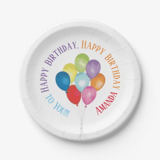 Birthday Balloons Customizable Paper Plates