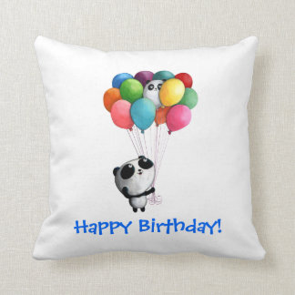 Birthday Balloons Panda Bear Cushion