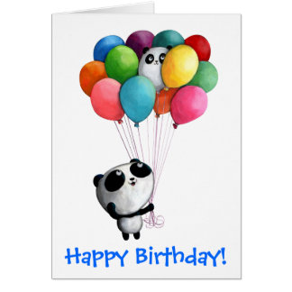 Birthday Balloons Panda Bear Greeting Card