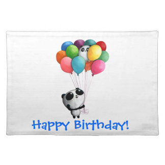 Birthday Balloons Panda Bear Placemat
