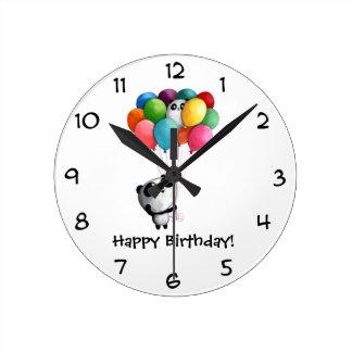 Birthday Balloons Panda Bear Round Clock