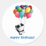 Birthday Balloons Panda Bear Round Sticker