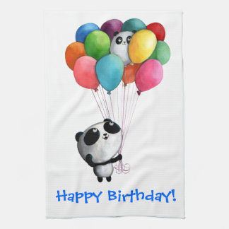 Birthday Balloons Panda Bear Tea Towel
