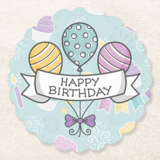 Birthday Balloons paper coasters