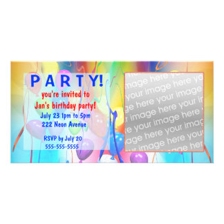 Birthday Balloons Party Invitation Picture Card