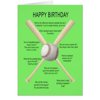 Birthday baseball jokes card