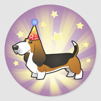 Birthday Basset Hound Round Sticker