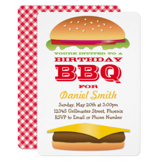 Birthday BBQ Cheeseburger Stack 13 Cm X 18 Cm Invitation Card