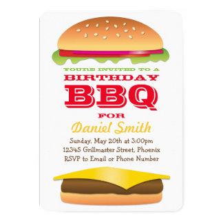 Birthday BBQ Cheeseburger Stack 13 Cm X 18 Cm Invitation Card