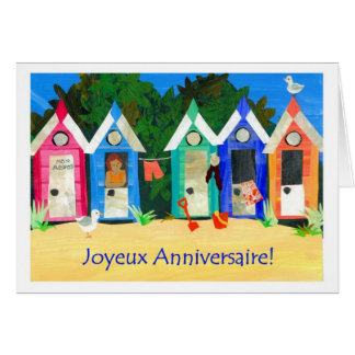 Birthday Beach Huts Card - French Greeting