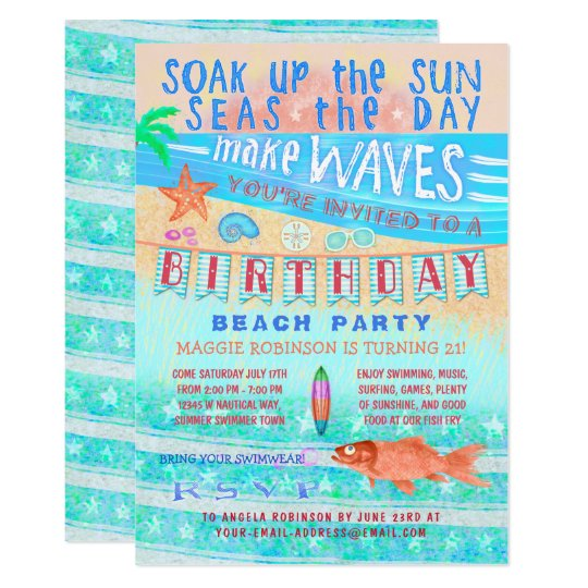 Birthday Beach or Pool Party Summer Fish Surf