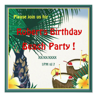 Birthday Beach Picnic Party Coconut Drink Custom Announcements