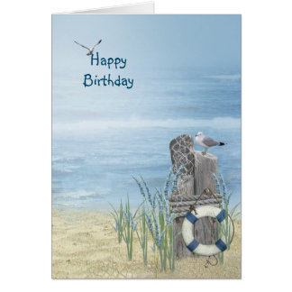 Birthday Beach Seagull Card