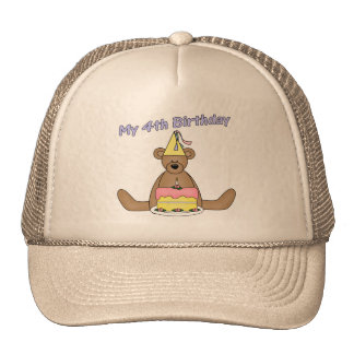 Birthday Bear 4th Birthday Gifts Cap