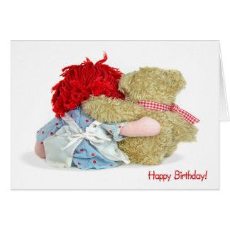 Birthday Bear and Doll Greeting Card