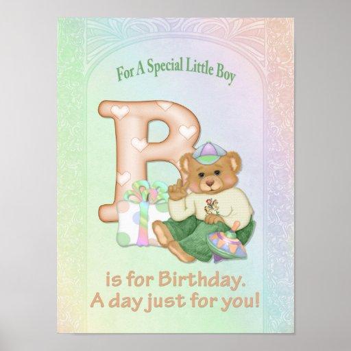 Birthday Bear Boy Print