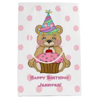 Birthday Bear Cupcake Pink Personalized Medium Gift Bag