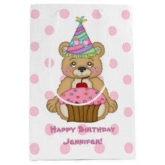 Birthday Bear Cupcake Pink Personalized Medium Gift Bag