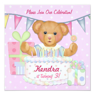 Birthday Bear Girl - Third Birthday 13 Cm X 13 Cm Square Invitation Card