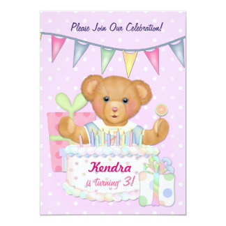 Birthday Bear Girl - Third Birthday 13 Cm X 18 Cm Invitation Card