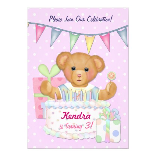 Birthday Bear Girl - Third Birthday Invites