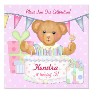 Birthday Bear Girl - Third Birthday Invitations