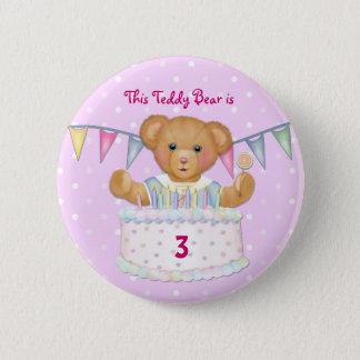 Birthday Bear Girl - Third - Customize Date 6 Cm Round Badge