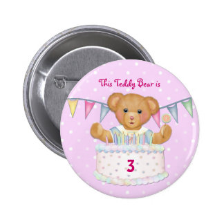 Birthday Bear Girl - Third - Customize Date 6 Cm Round Badge