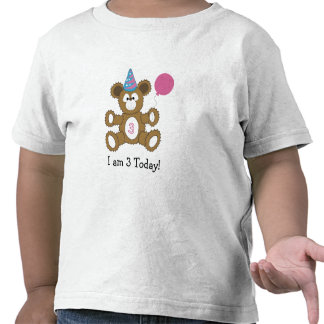 Birthday Bear  I am 3 Today! GIRL Shirts