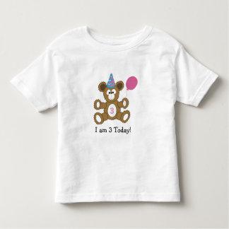 Birthday Bear  I am 3 Today! GIRL Tshirts