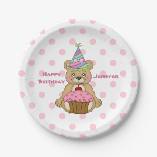 Birthday Bear Pink Cupcake Polkadot Personalised 7 Inch