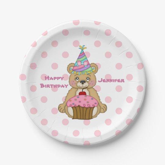 Birthday Bear Pink Cupcake Polkadot Personalised Paper Plate